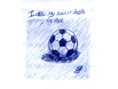 I draw my soccer balls in ink